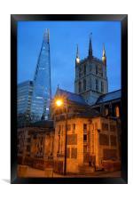 The Shard & Southwark Cathedral at Night, Framed Print