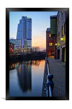 Bridgewater Place and River Aire in Leeds , Framed Print