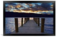Windermere Boat Jetty Sunset                      , Framed Print