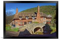 Allerford Packhorse Bridge and Cottage            , Framed Print