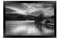 Ladybower Winter Reflections in Mono, Framed Print