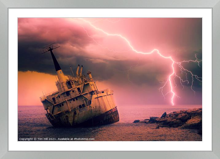Buy Framed Mounted Prints of Shipwreck and Storm Lightning by Tim Hill