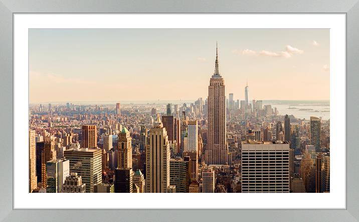 Buy Framed Mounted Prints of Manhattan Midtown Skyline with illuminated skyscra by Pere Sanz