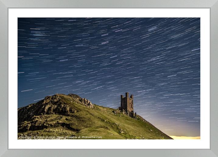 Buy Framed Mounted Prints of Dunstanburgh Castle Star Trail by Robin Hunter