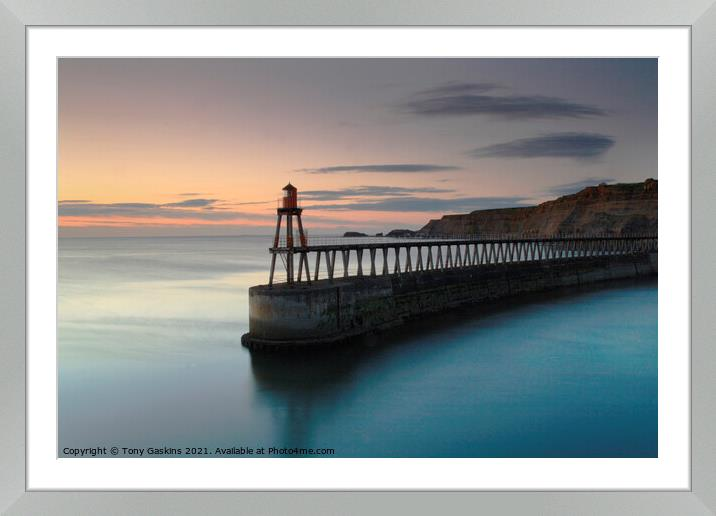 Buy Framed Mounted Prints of Sunrise, East Pier, Whitby North Yorkshire by Tony Gaskins