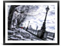 Red jacket on the south bank, Framed Mounted Print