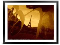 Eiffel Tower, Paris, in sepia., Framed Mounted Print