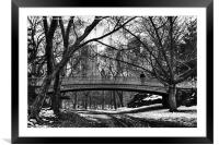 Central Park in the snow with a policeman, Framed Mounted Print