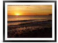 Sunset on the Beach, Framed Mounted Print