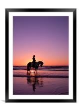 Horse rider at sunset, Framed Mounted Print