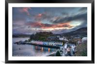 Sunset colour over Portree, Framed Mounted Print