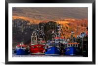 Vessels moored to the Portree pier, Framed Mounted Print