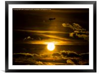 North American Harvard G-BJST passing the sun, Framed Mounted Print