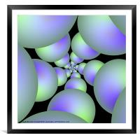 Green and Lilac Sphere Spiral, Framed Mounted Print