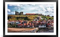 Whitby Cottages And Abbey, Framed Mounted Print