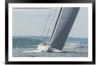 Ranger J Class Yacht racing in Falmouth Harbour, Framed Mounted Print