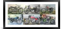 SIX CLASSIC BRITISH MOTORCYCLES, Framed Mounted Print
