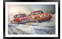 Racing in the 1967 Monte Carlo Rally, Framed Mounted Print