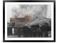 West Pier Fire, Framed Mounted Print