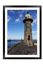 East Pier Lighthouse Whitby, Framed Mounted Print