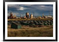 Fishermans Huts Redcar, Framed Mounted Print