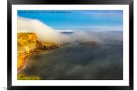 Saltwick Bay as the fog rolls in , Framed Mounted Print