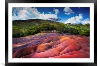 Seven Colored Earth in Chamarel. Mauritius, Framed Mounted Print