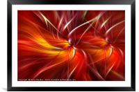 Orange red dynamic abstract. Concept Passionate Hearts, Framed Mounted Print