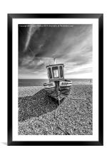 Fishing boat in mono, Framed Mounted Print