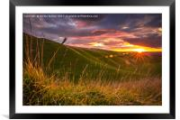 Sun set over the Horse, Framed Mounted Print