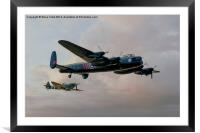 Two Icons - Lancaster and Spitfire, Framed Mounted Print