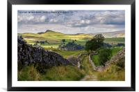 Old Lanes above stainforth, Yorkshire Dales, Framed Mounted Print
