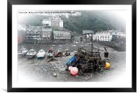 Clovelly harbour, Devon (selective colour), Framed Mounted Print