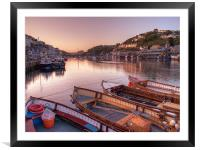 The sun goes down at Looe, Framed Mounted Print