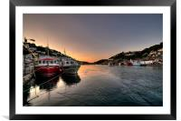 The sun goes down on the Looe River, Framed Mounted Print