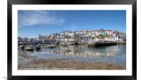 Low Tide reflections at Brixham Harbour, Framed Mounted Print