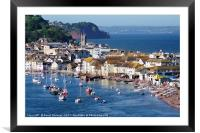 Teignmouth Back Beach and Town viewed from Shaldon, Framed Mounted Print