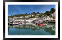 Reflections at pretty Polperro Harbour in Cornwall, Framed Mounted Print
