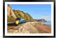 GWR train passing through Teignmouth from Dawlish, Framed Mounted Print