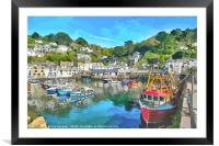 Colourful boats and houses at Polperro Harbour , Framed Mounted Print