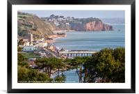 View of Teignmouth and The Parson and Clerk Rocks , Framed Mounted Print