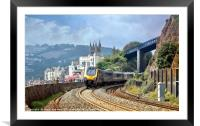 Train approaching Teignmouth after leaving Dawlish, Framed Mounted Print
