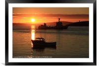 Boats In Sunset At Trondra, Framed Mounted Print