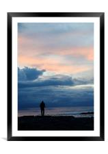 Sunset Fisherman Silouette, Framed Mounted Print