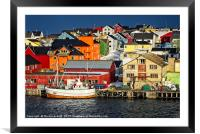 Colourful Vardo in Norway, Framed Mounted Print