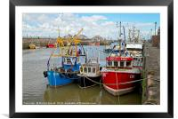 Fishing Boats in Harbour at Maryport, Cumbria, Framed Mounted Print
