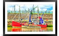 Fishing Boat digital art, Framed Mounted Print