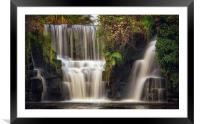 Penllergare waterfall, Framed Mounted Print
