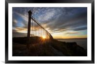 Safety railings and sunset, Framed Mounted Print