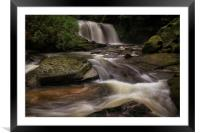 Cwmdu waterfall on The Clydach River, Framed Mounted Print